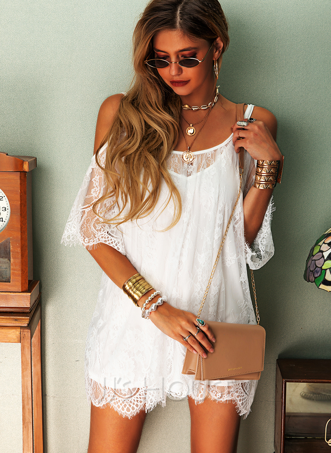Lace Solid Shift Cold Shoulder 3/4 Sleeves Midi Casual Vacation Dresses