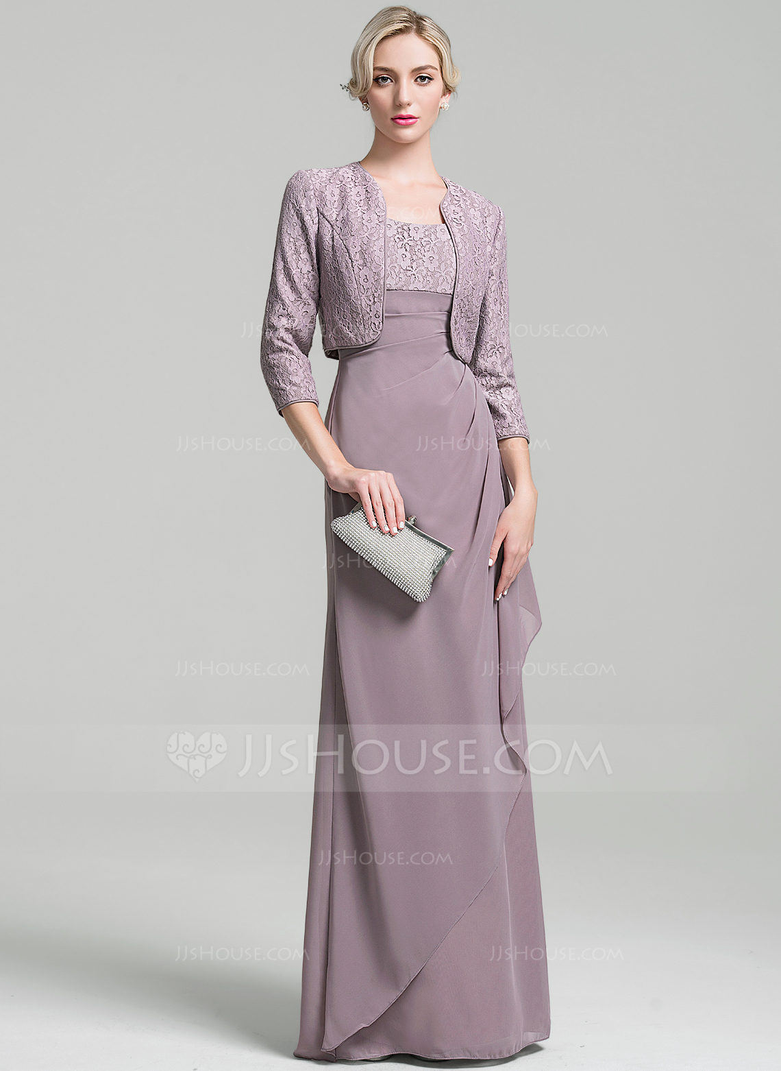 Sheath/Column Scoop Neck Floor-Length Chiffon Mother of the Bride Dress With Ruffle Cascading Ruffles