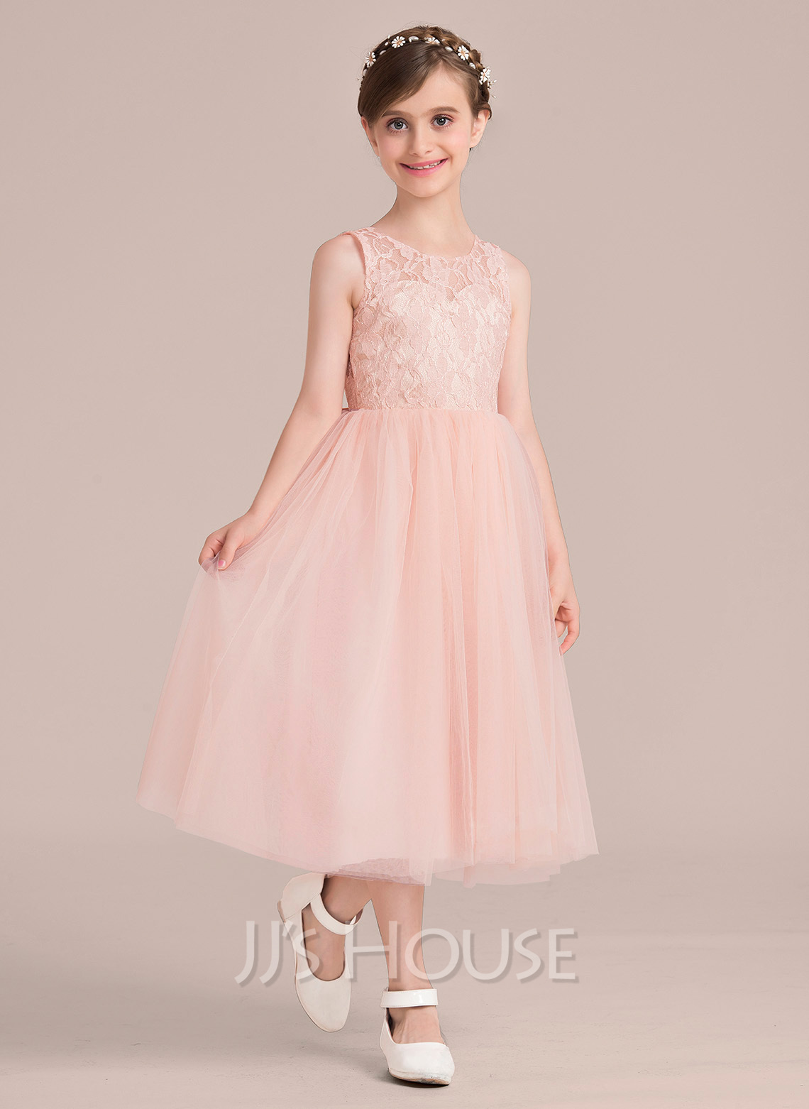 A-Line/Princess Scoop Neck Tea-Length Tulle Junior Bridesmaid Dress With Beading Bow(s)