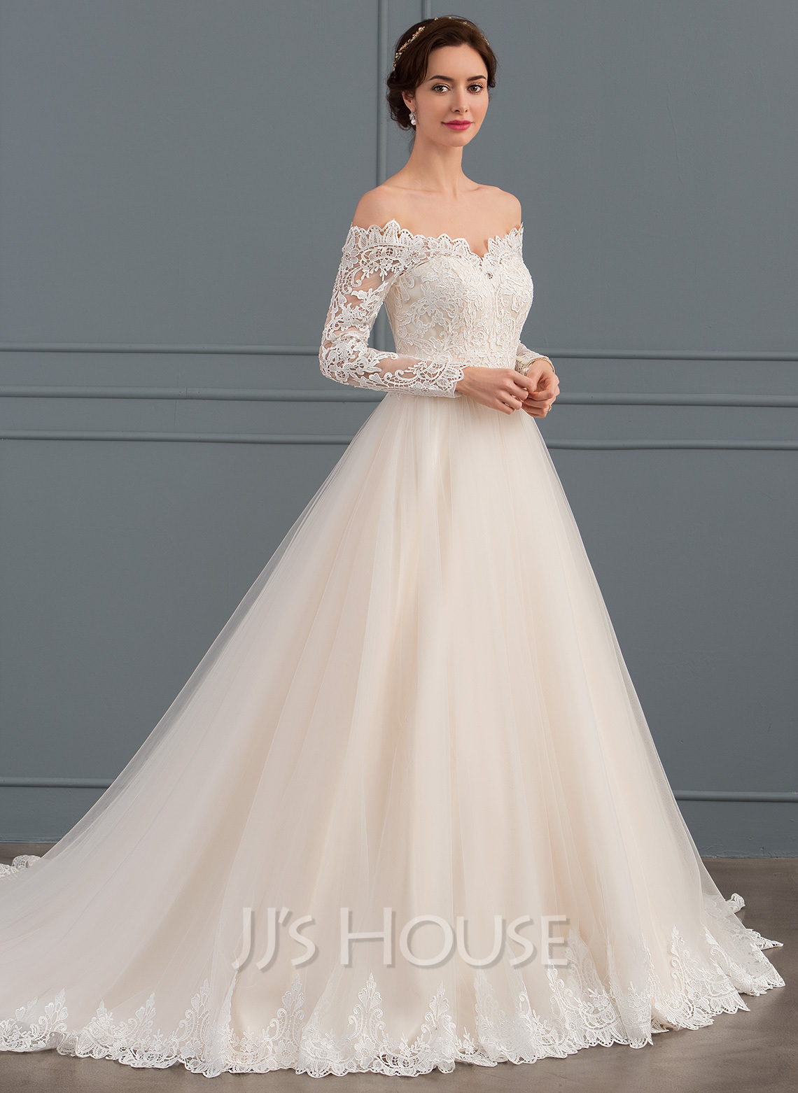 Lace Wedding Dress With Sleeves.Ball Gown Off The Shoulder Chapel Train Tulle Lace Wedding Dress 002134399