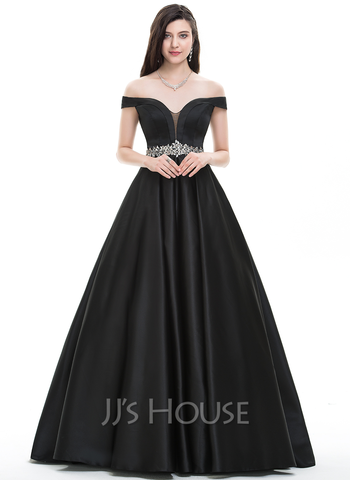 Ball Gown Off The Shoulder Floor Length Satin Prom Dress