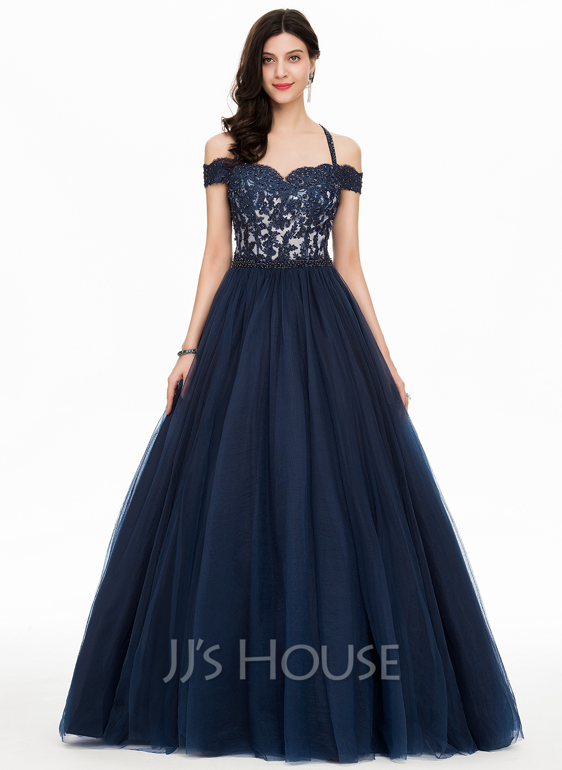 da7c9d8584e Ball-Gown Off-the-Shoulder Floor-Length Tulle Prom Dresses With Beading.  Loading zoom