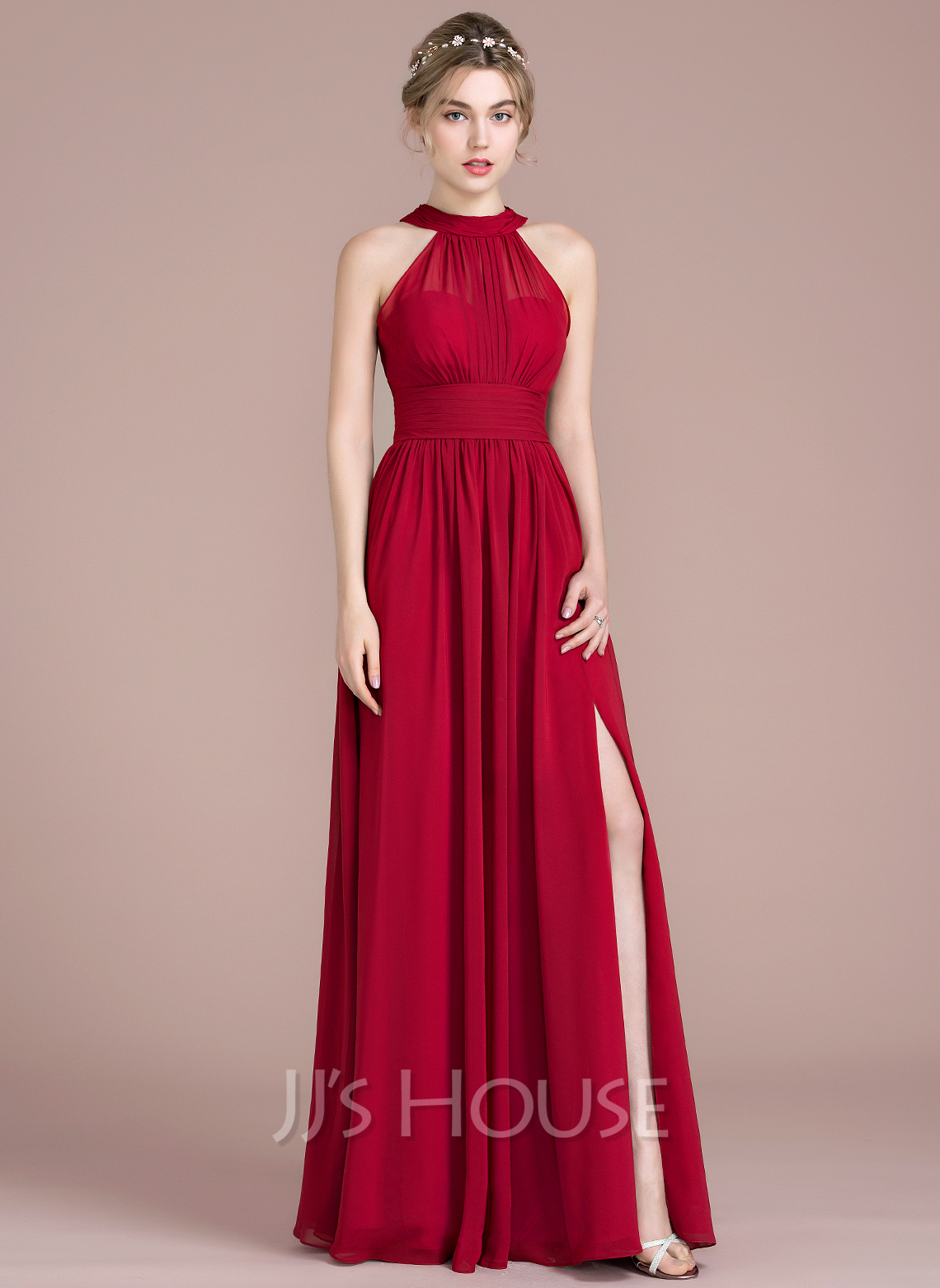 2322d894834 A-Line Princess Scoop Neck Floor-Length Chiffon Bridesmaid Dress With  Ruffle Bow. Loading zoom