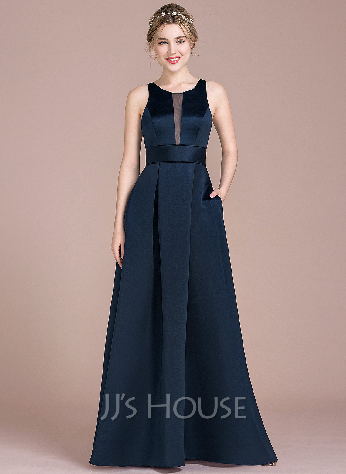 Scoop Neck Floor-Length Satin Bridesmaid Dress With Pockets