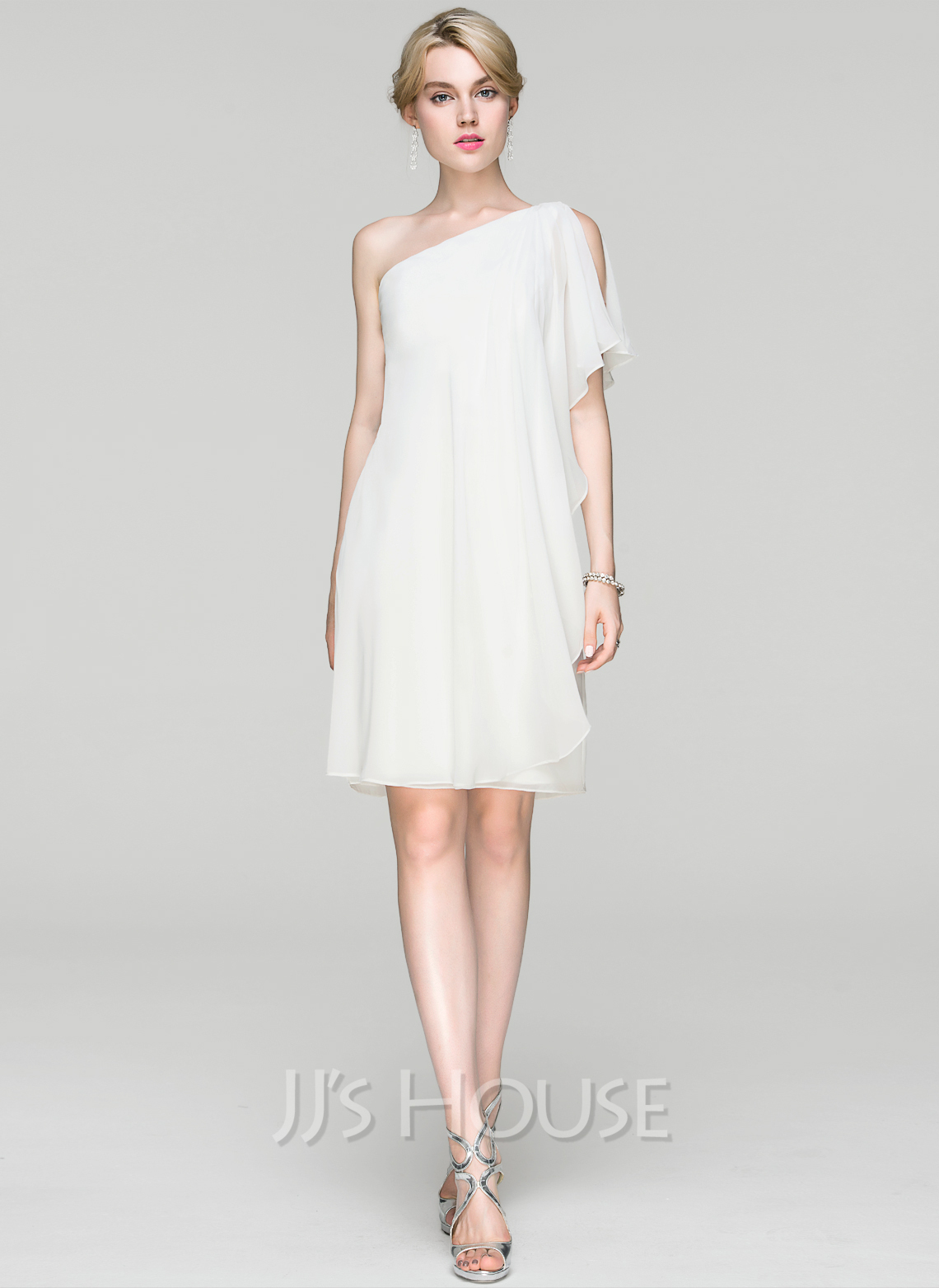 b7c87e0a Sheath/Column One-Shoulder Knee-Length Chiffon Cocktail Dress With Ruffle.  Loading zoom