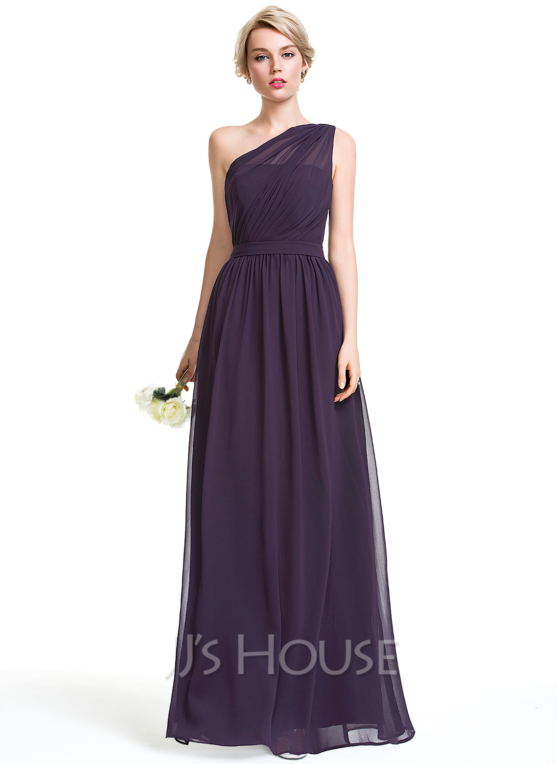 One-Shoulder Floor-Length Chiffon Bridesmaid Dress With Ruffle