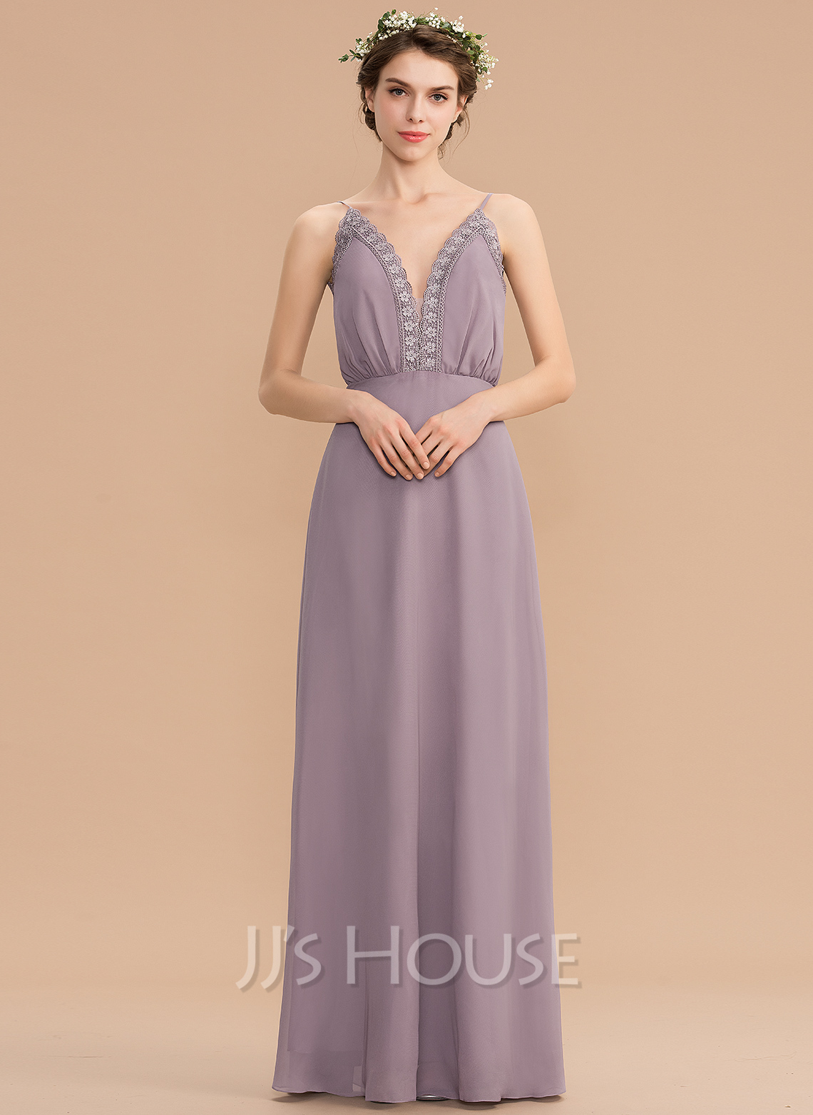 0156fc5b5f3 A-Line V-neck Floor-Length Chiffon Bridesmaid Dress With Lace. Loading zoom