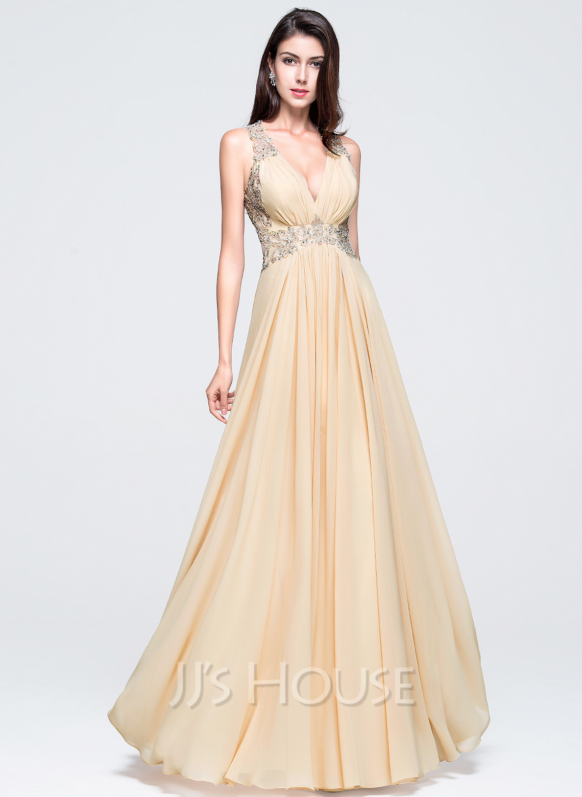 6049f153ae1c6 A-Line/Princess V-neck Floor-Length Chiffon Prom Dresses With Beading. Loading  zoom