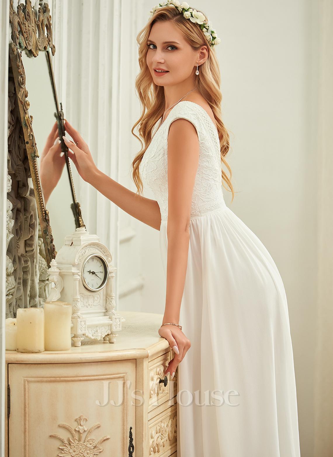 Escote en V Hasta el suelo Gasa Encaje Vestido de novia