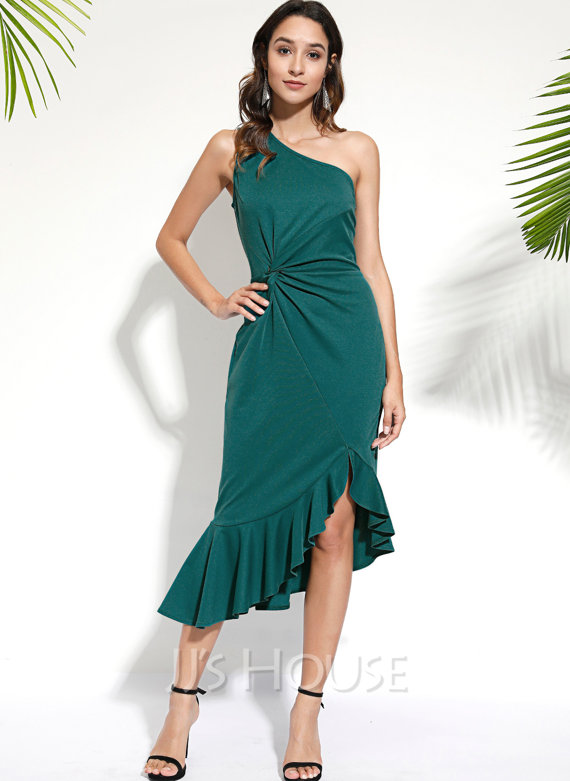 Polyester With Ruffles/Solid/Slit Knee Length Dress