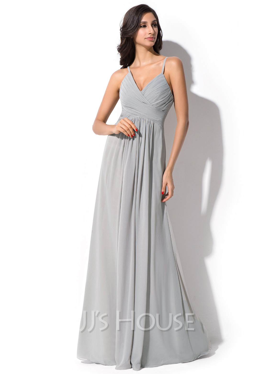 V-neck Floor-Length Chiffon Bridesmaid Dress With Ruffle