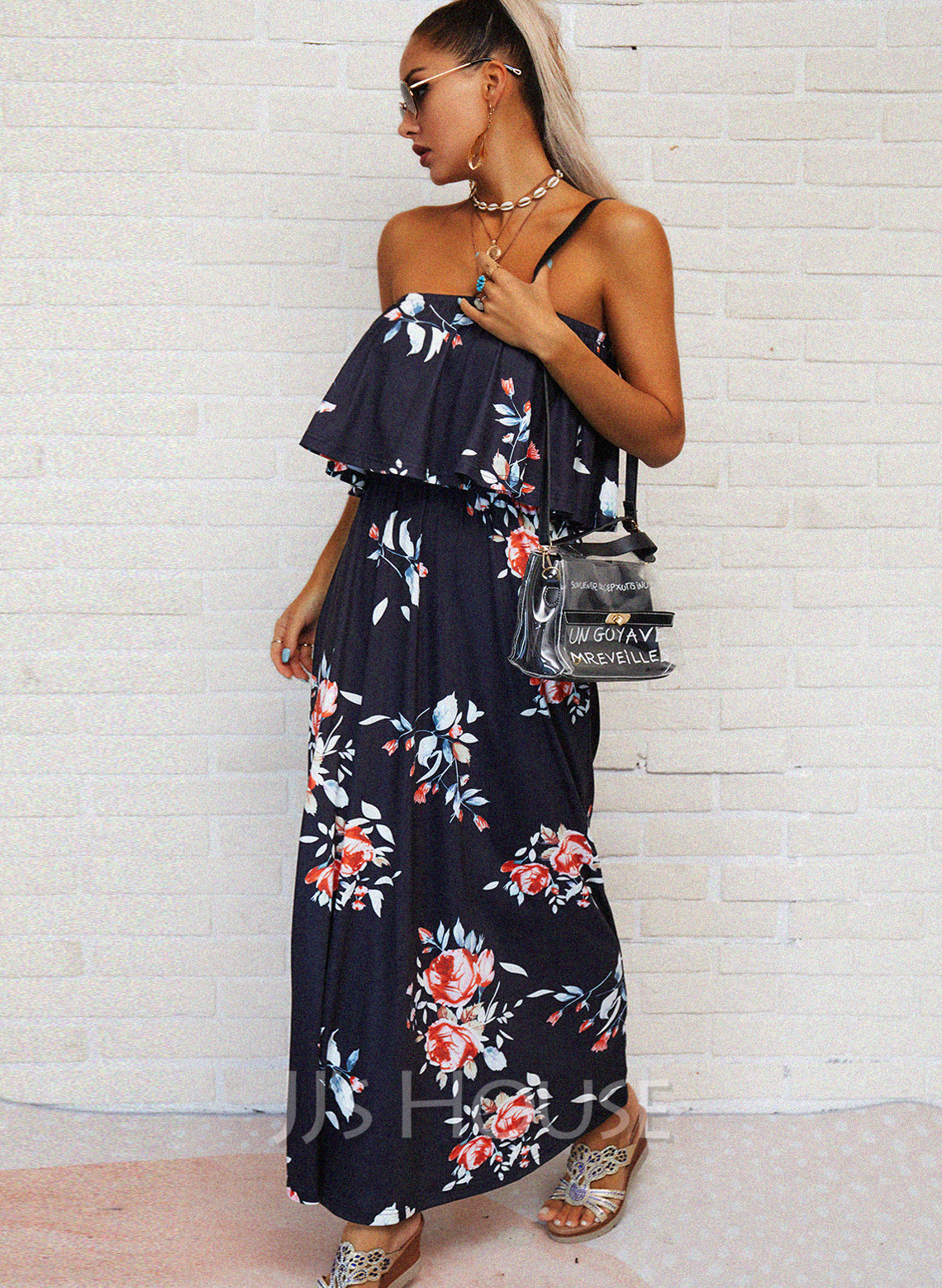 Floral Print A-line Strapless Sleeveless Maxi Casual Vacation Skater Dresses