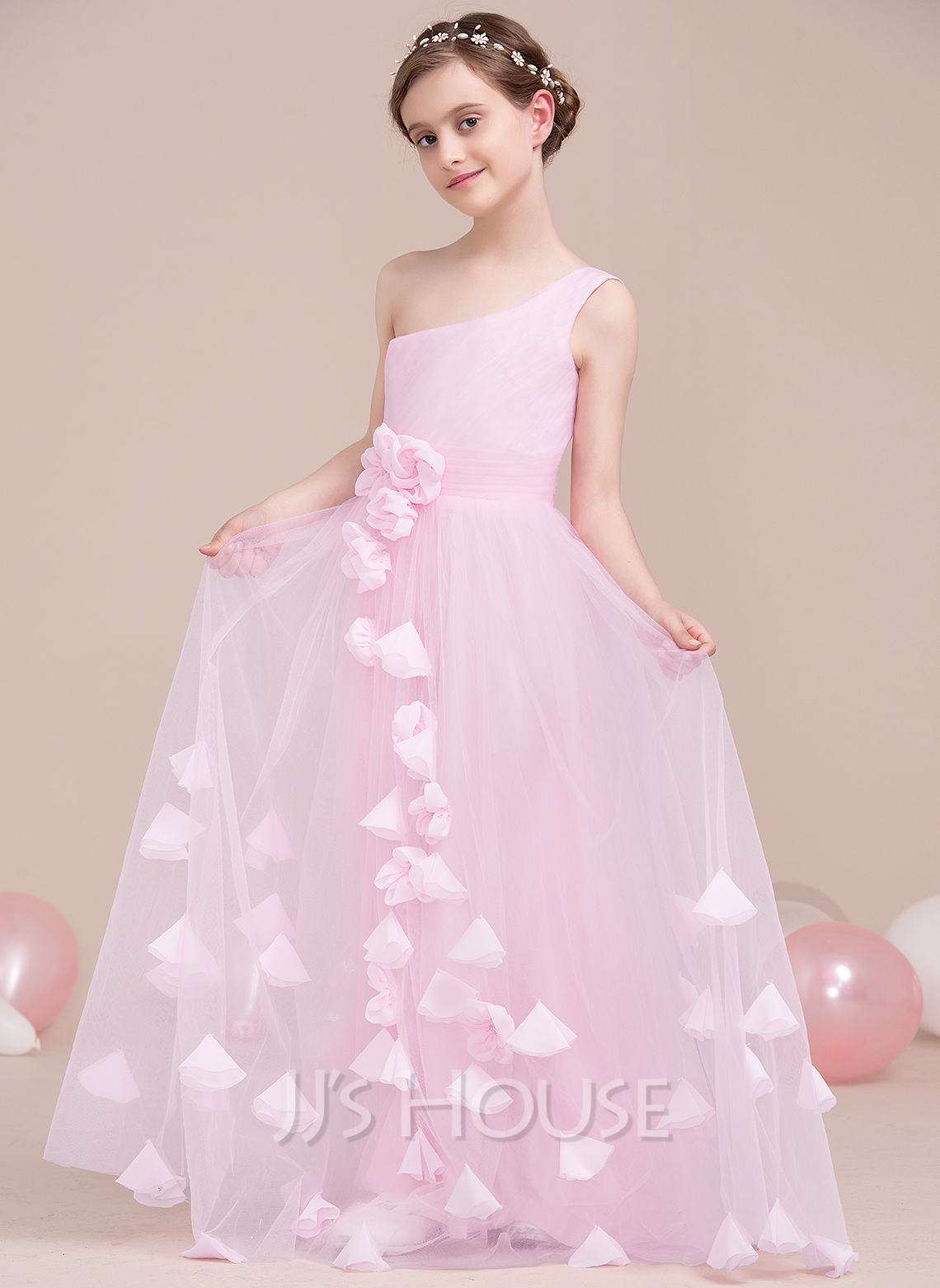 A-Line One-Shoulder Floor-Length Tulle Junior Bridesmaid Dress With Ruffle Flower(s)