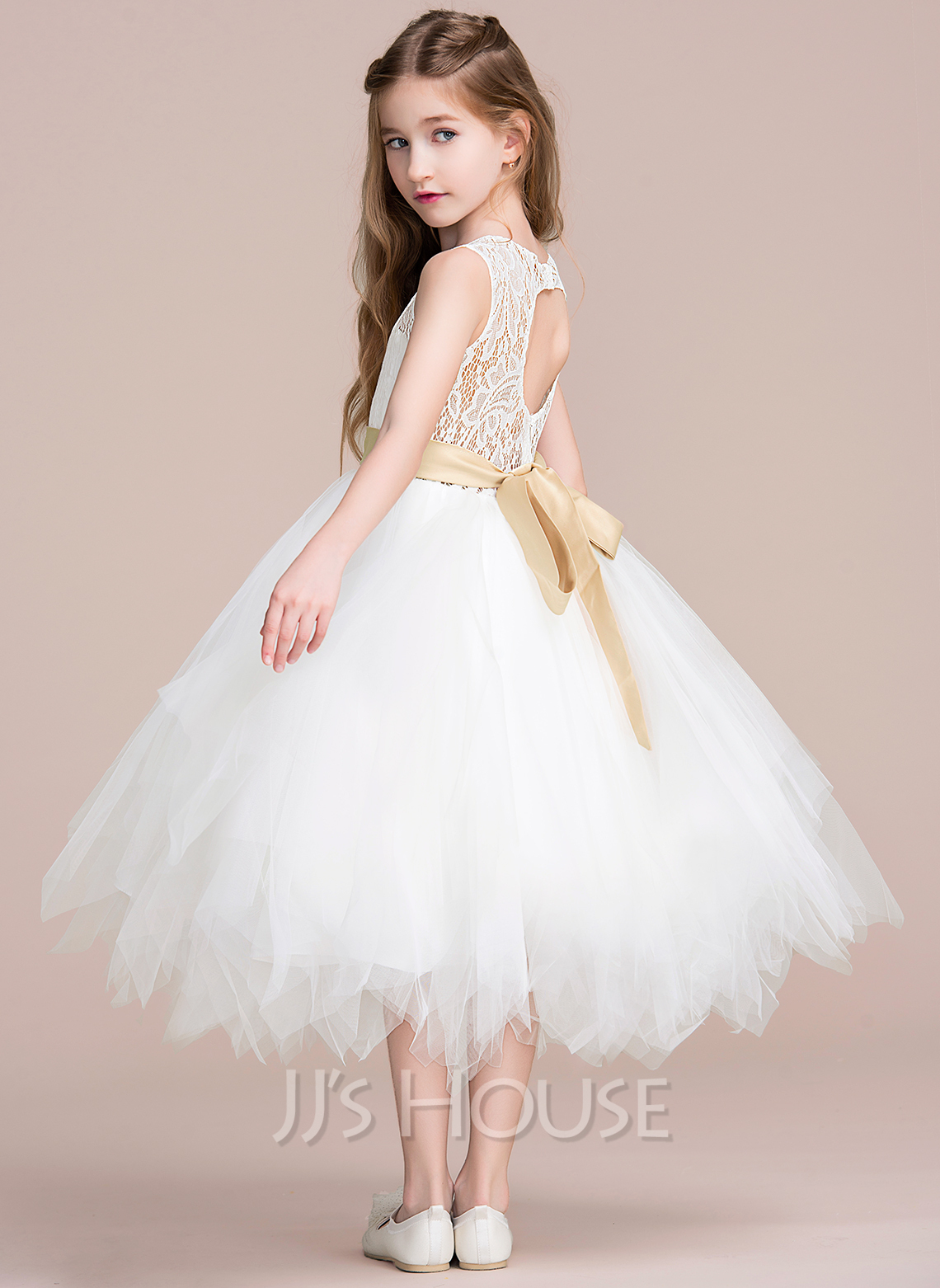 c2d3d865232 A-Line Tea-length Flower Girl Dress - Tulle Lace Sleeveless Scoop Neck.  Loading zoom