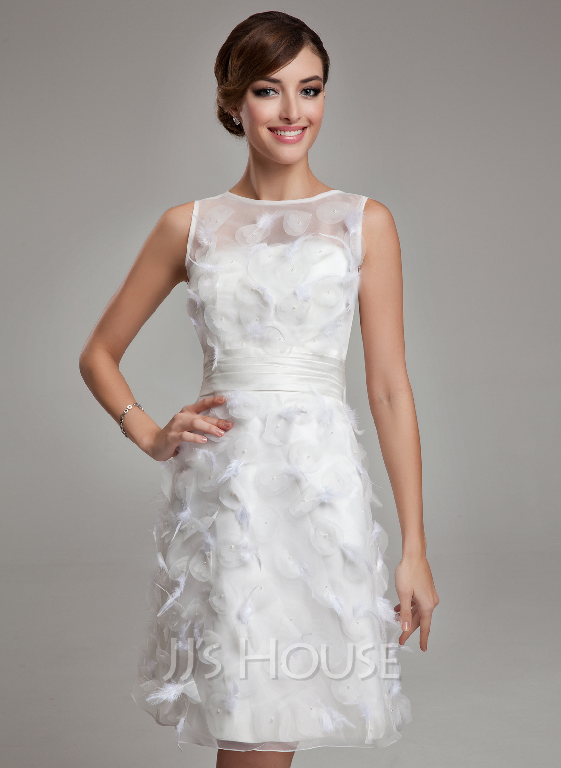 Sheath/Column Scoop Neck Knee-Length Satin Organza Wedding Dress With Feather