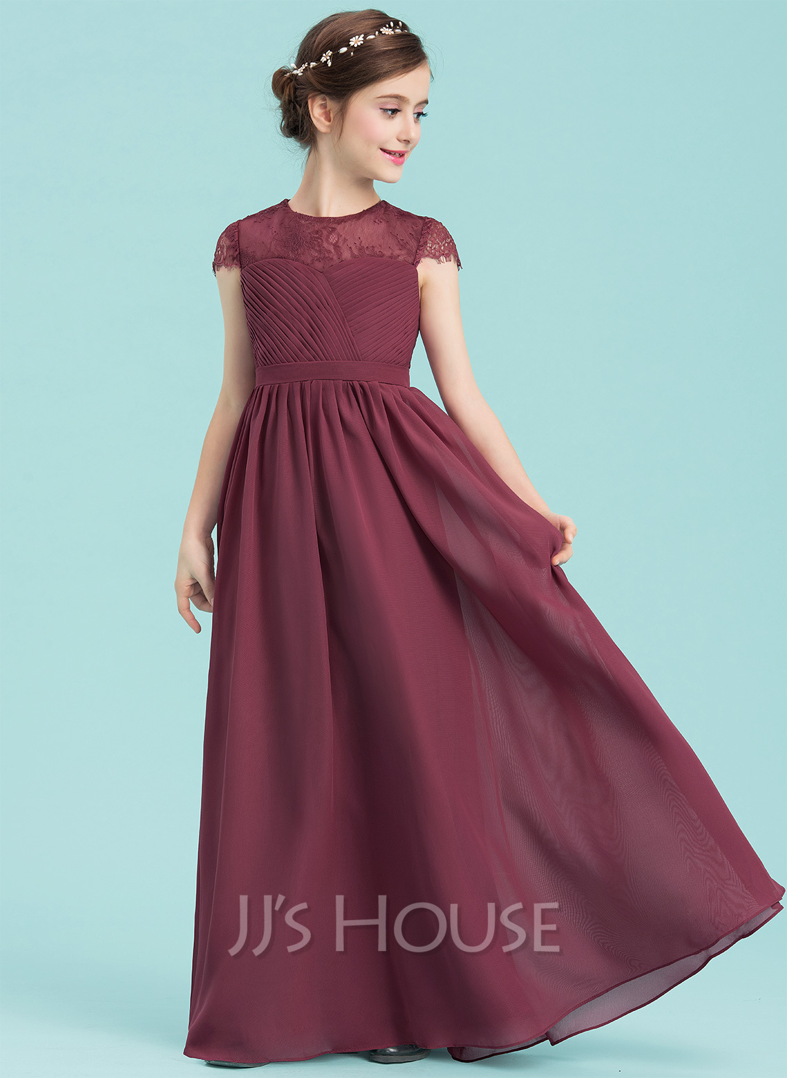 A lineprincess scoop neck floor length chiffon junior bridesmaid a lineprincess scoop neck floor length chiffon junior bridesmaid dress with ruffle loading zoom ombrellifo Image collections