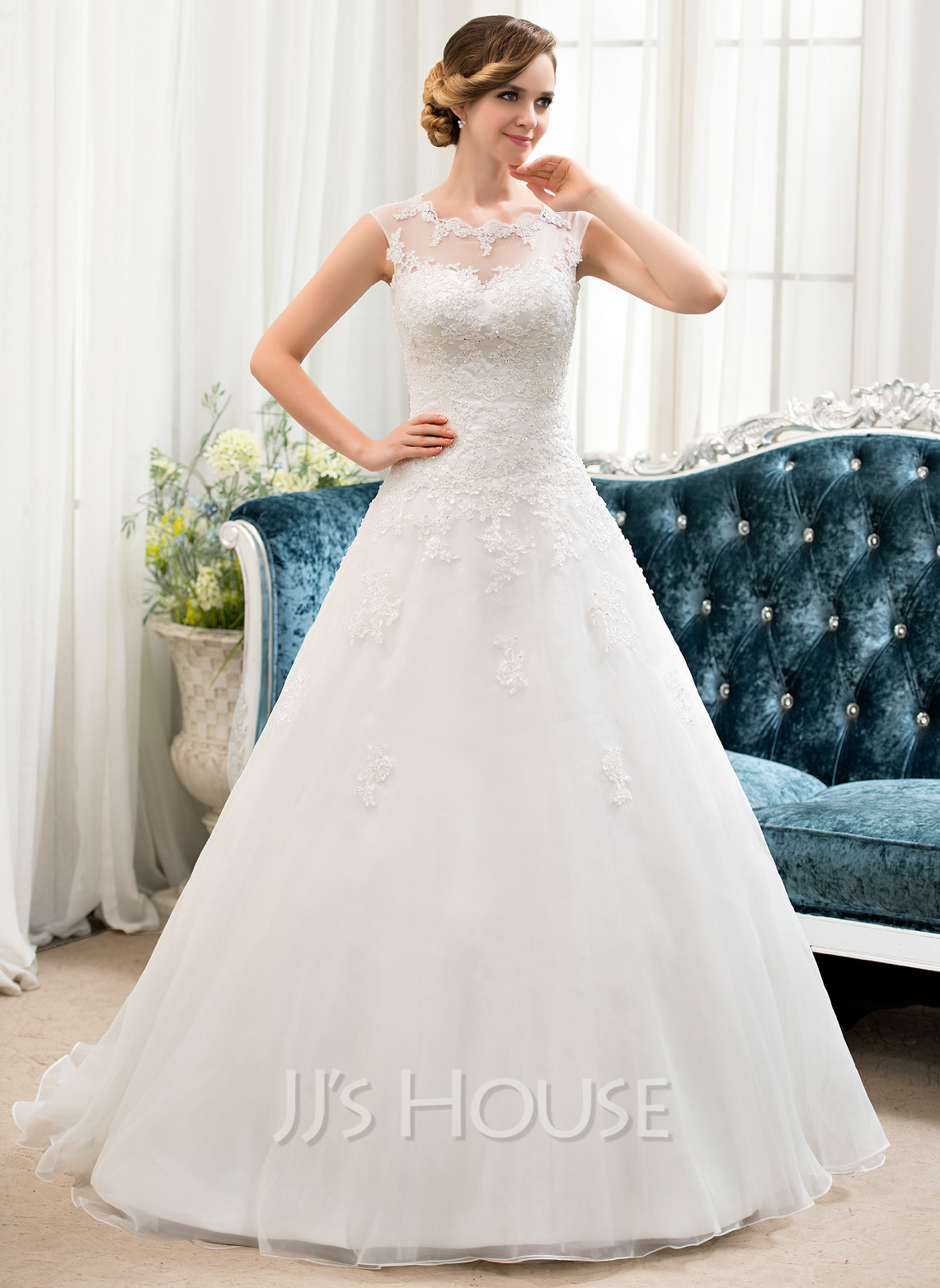Ball-Gown Scoop Neck Sweep Train Organza Tulle Wedding Dress With ...