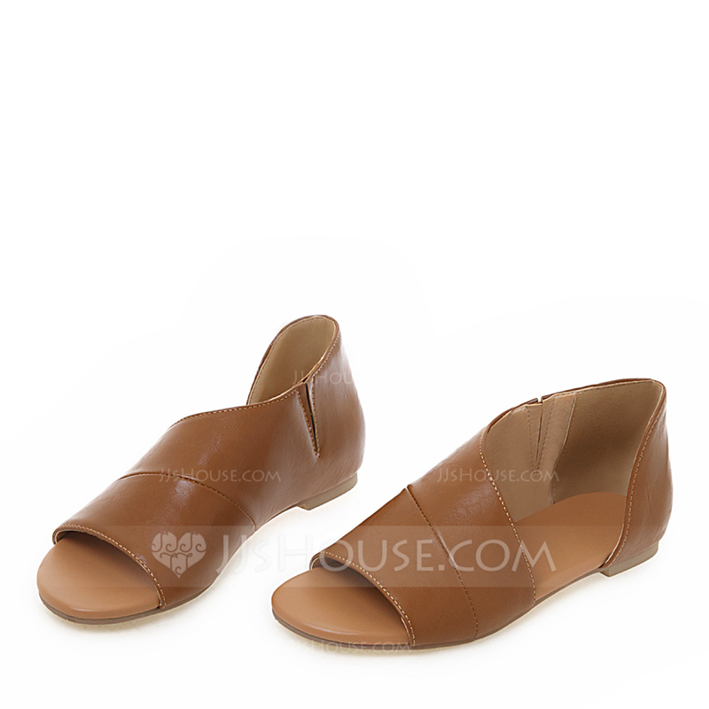24dcdc5efb Women's Leatherette Flat Heel Sandals Flats Peep Toe With Split Joint shoes  (087203864)