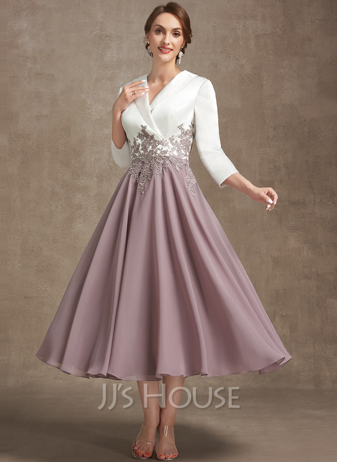 A-Line V-neck Tea-Length Chiffon Lace Cocktail Dress