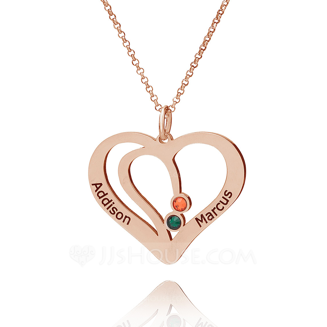 Custom 18k Rose Gold Plated Silver Overlapping Eternity Two Heart Necklace Birthstone Necklace Engraved Necklace With Birthstone - Christmas Gifts