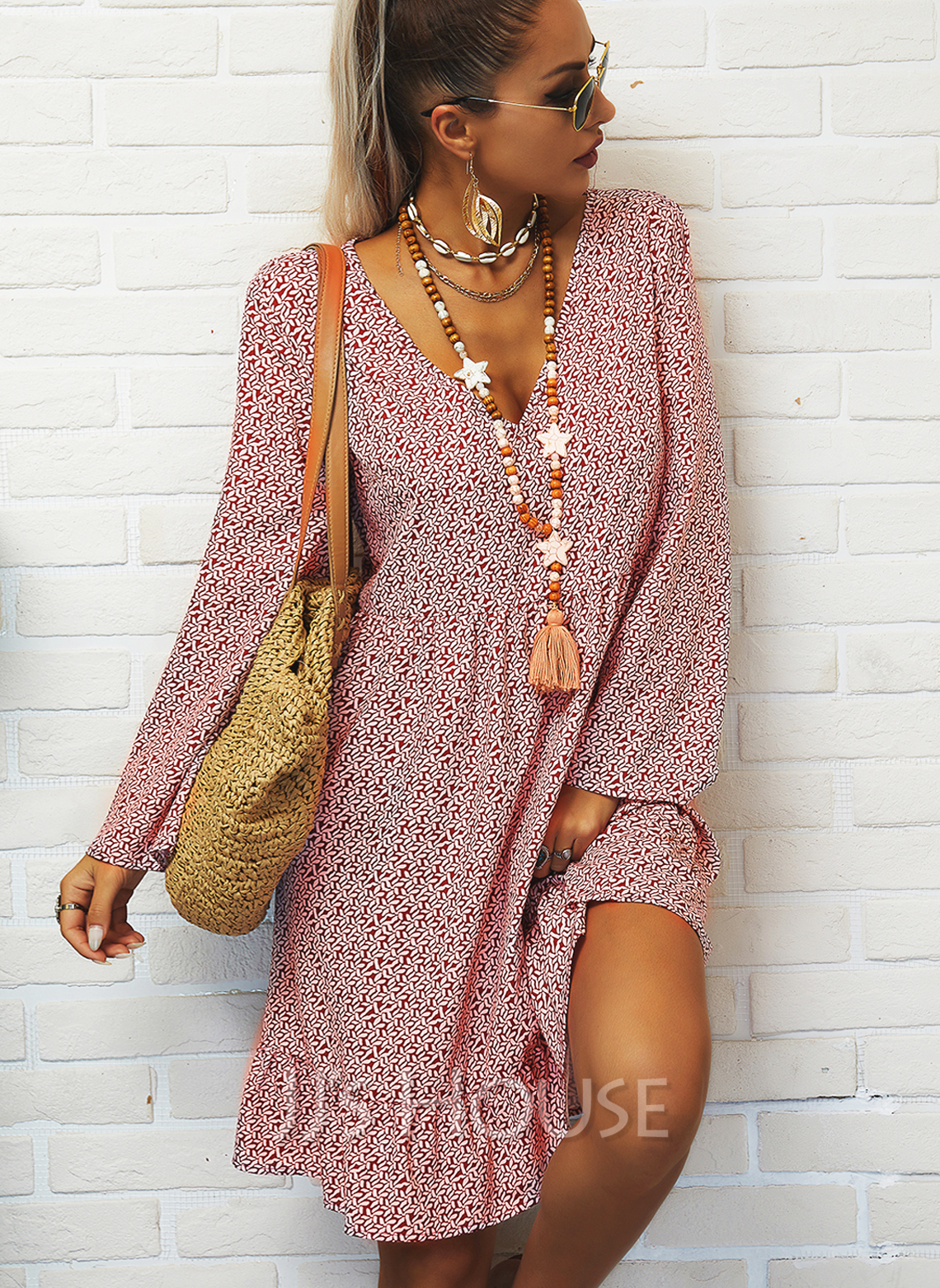 Print Shift V-Neck Long Sleeves Midi Casual Tunic Dresses