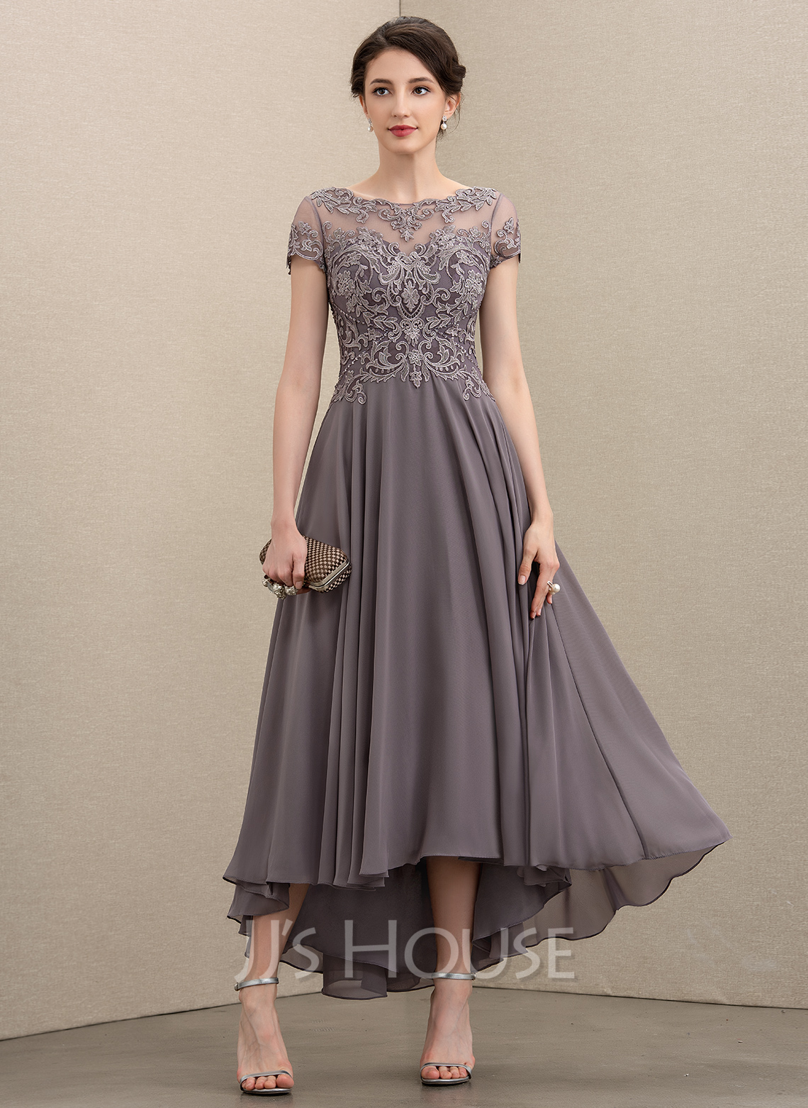 Scoop Neck Asymmetrical Chiffon Lace Cocktail Dress With Beading Sequins