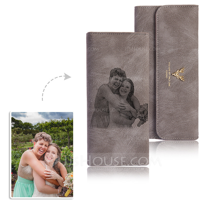 Bridesmaid Gifts - Personalized Elegant Photo Engraved Black And White Imitation Leather Wallet