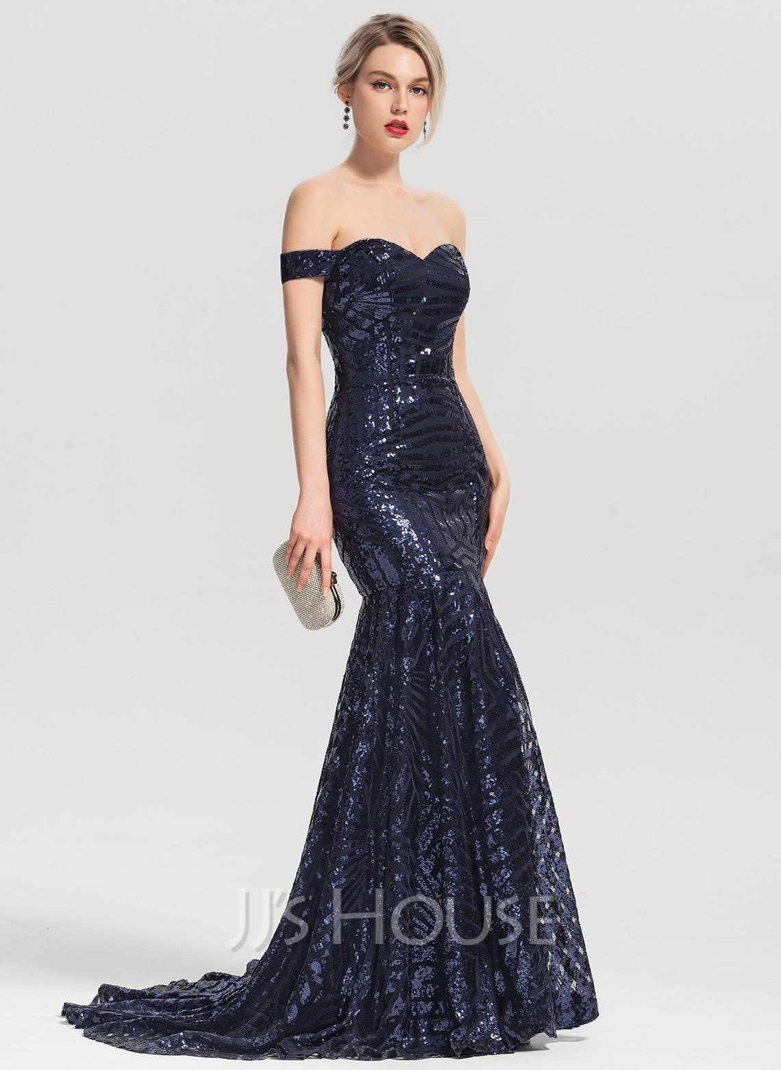 fbdd261a7fa9 Trumpet/Mermaid Off-the-Shoulder Sweep Train Sequined Evening Dress.  Loading zoom