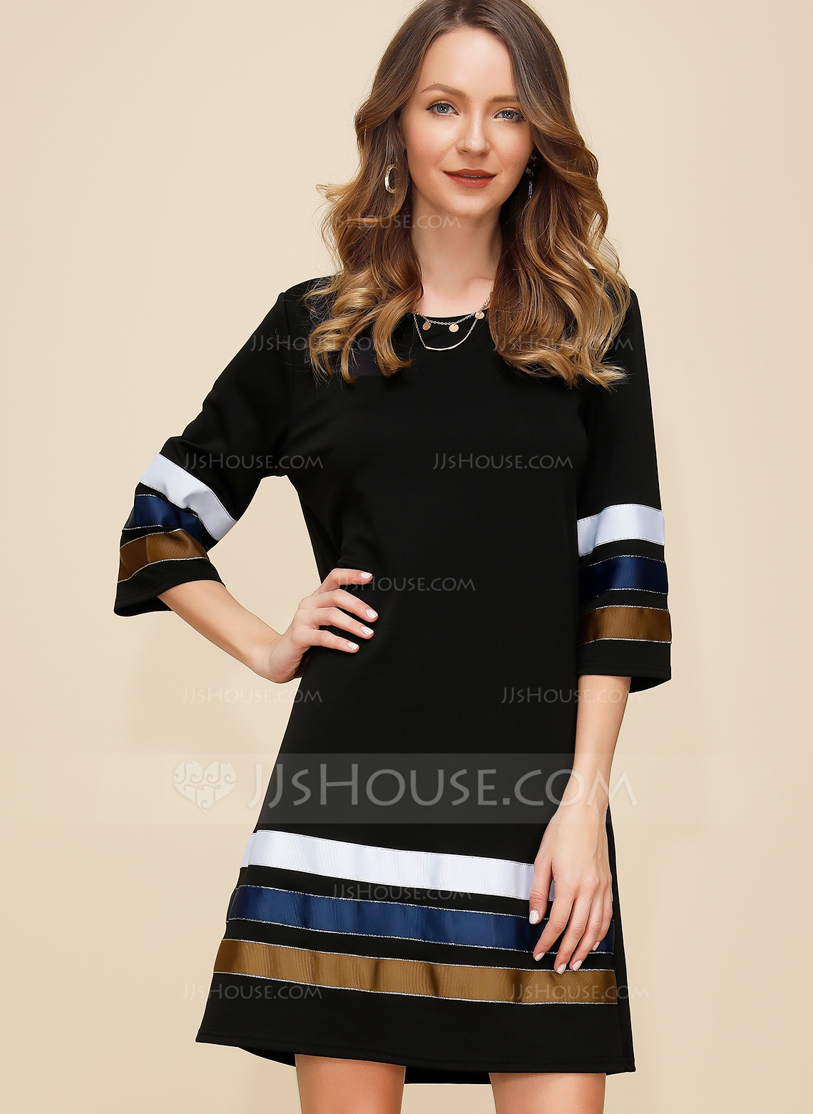 Polyester With Color-block Above Knee Dress