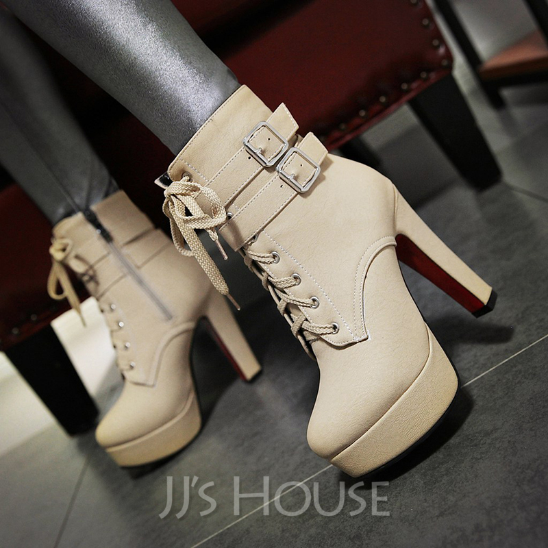 0ce1f612f9d3 Women's PU Chunky Heel Pumps Platform Mid-Calf Boots With Zipper Lace-up  shoes. Loading zoom