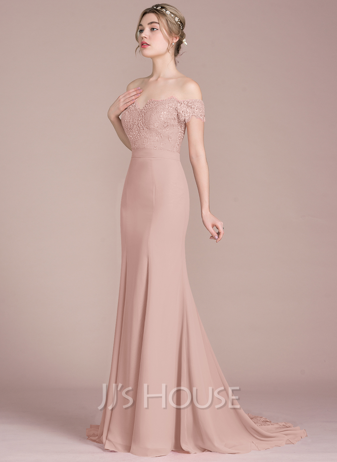 9bd9b118e4d4 Trumpet/Mermaid Off-the-Shoulder Court Train Chiffon Lace Bridesmaid Dress  With Beading. Loading zoom
