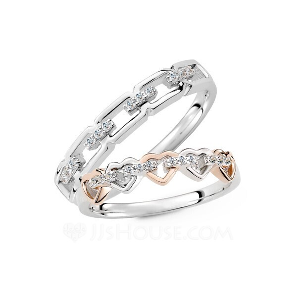 Sterling Silver Cubic Zirconia Heart Round Cut Couple's Rings - Valentines Gifts