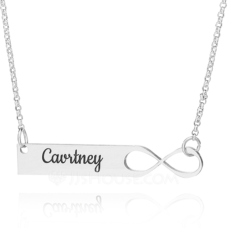 Custom Sterling Silver Infinity Engraving/Engraved Bar Necklace Infinity Name Necklace - Birthday Gifts Mother's Day Gifts