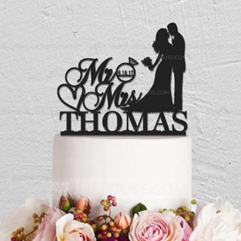 Personalized Kissing Couple Acrylic/Wood Cake Topper