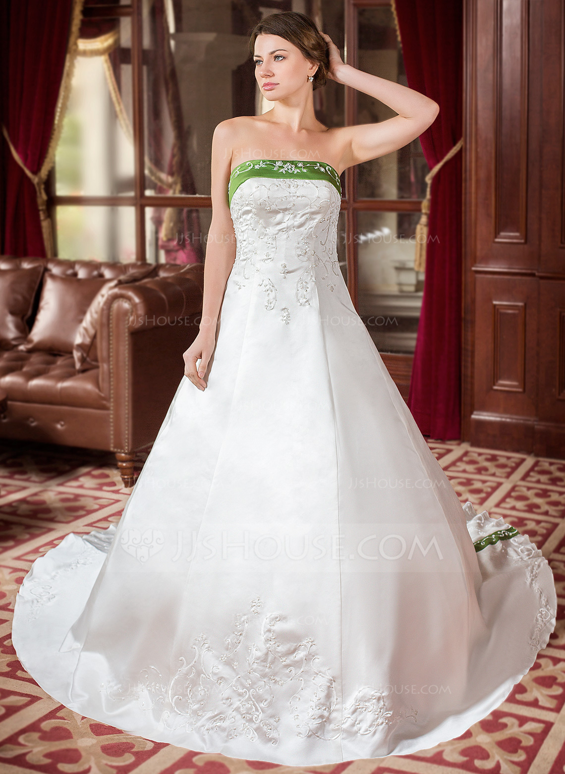 Ball-Gown Strapless Royal Train Satin Wedding Dress With Embroidered ...