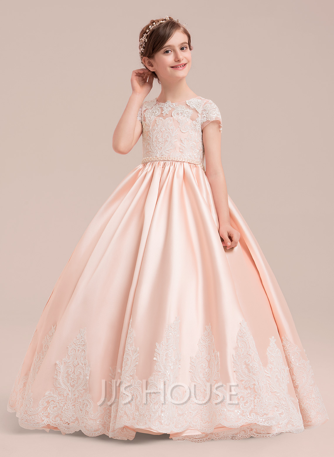 be78c67815a4 Ball Gown Floor-length Flower Girl Dress - Satin/Tulle/Lace Short Sleeves.  Loading zoom
