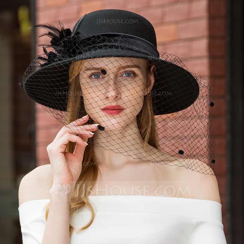 Ladies' Classic/Unique/Simple Wool With Feather/Tulle Floppy Hats/Tea Party Hats