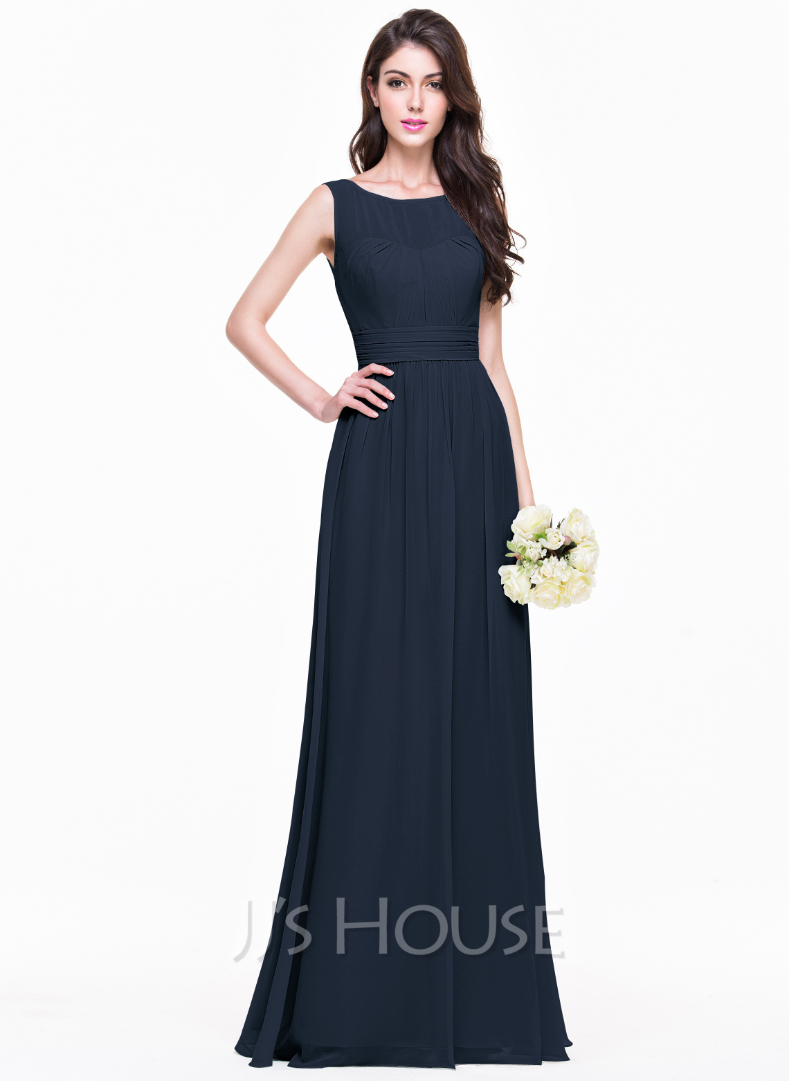A lineprincess scoop neck floor length chiffon bridesmaid dress a lineprincess scoop neck floor length chiffon bridesmaid dress with ruffle loading zoom ombrellifo Image collections
