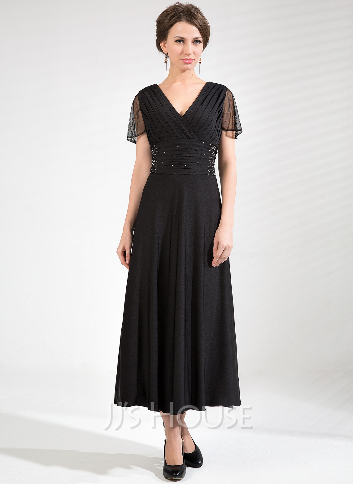 V-neck Tea-Length Tulle Jersey Mother of the Bride Dress With Ruffle Beading