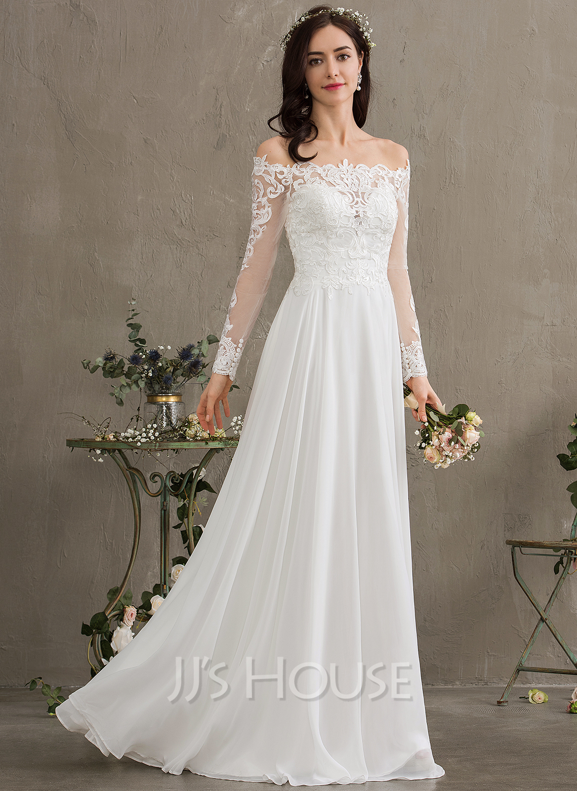 Off-the-Schulter Bodenlang Chiffon Brautkleid