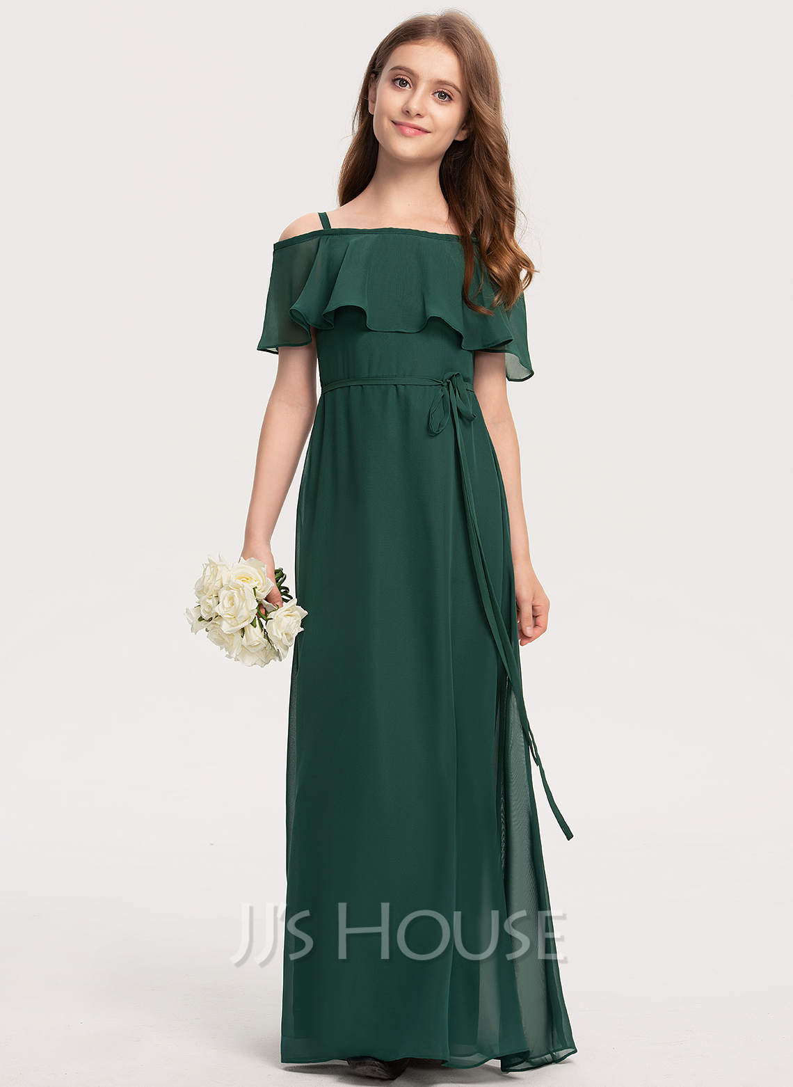 Off-the-Shoulder Floor-Length Chiffon Junior Bridesmaid Dress With Bow(s)