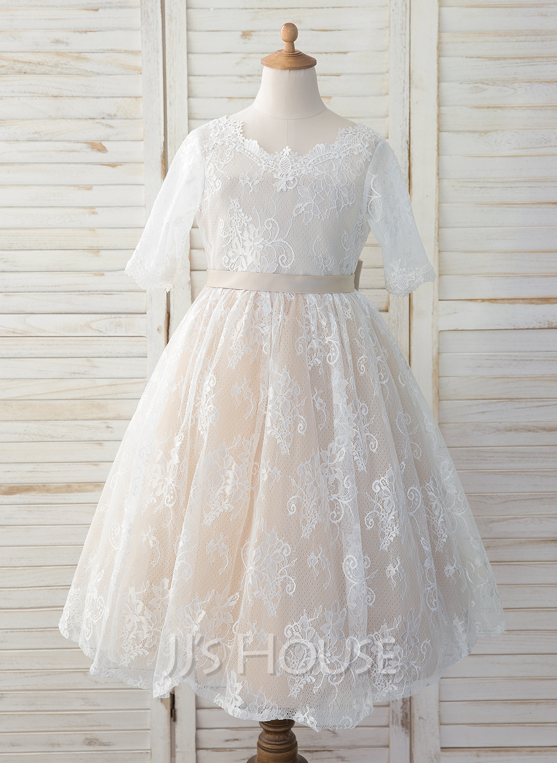 A-Line Tea-length Flower Girl Dress - Tulle/Lace 3/4 Sleeves Scoop Neck With Bow(s)