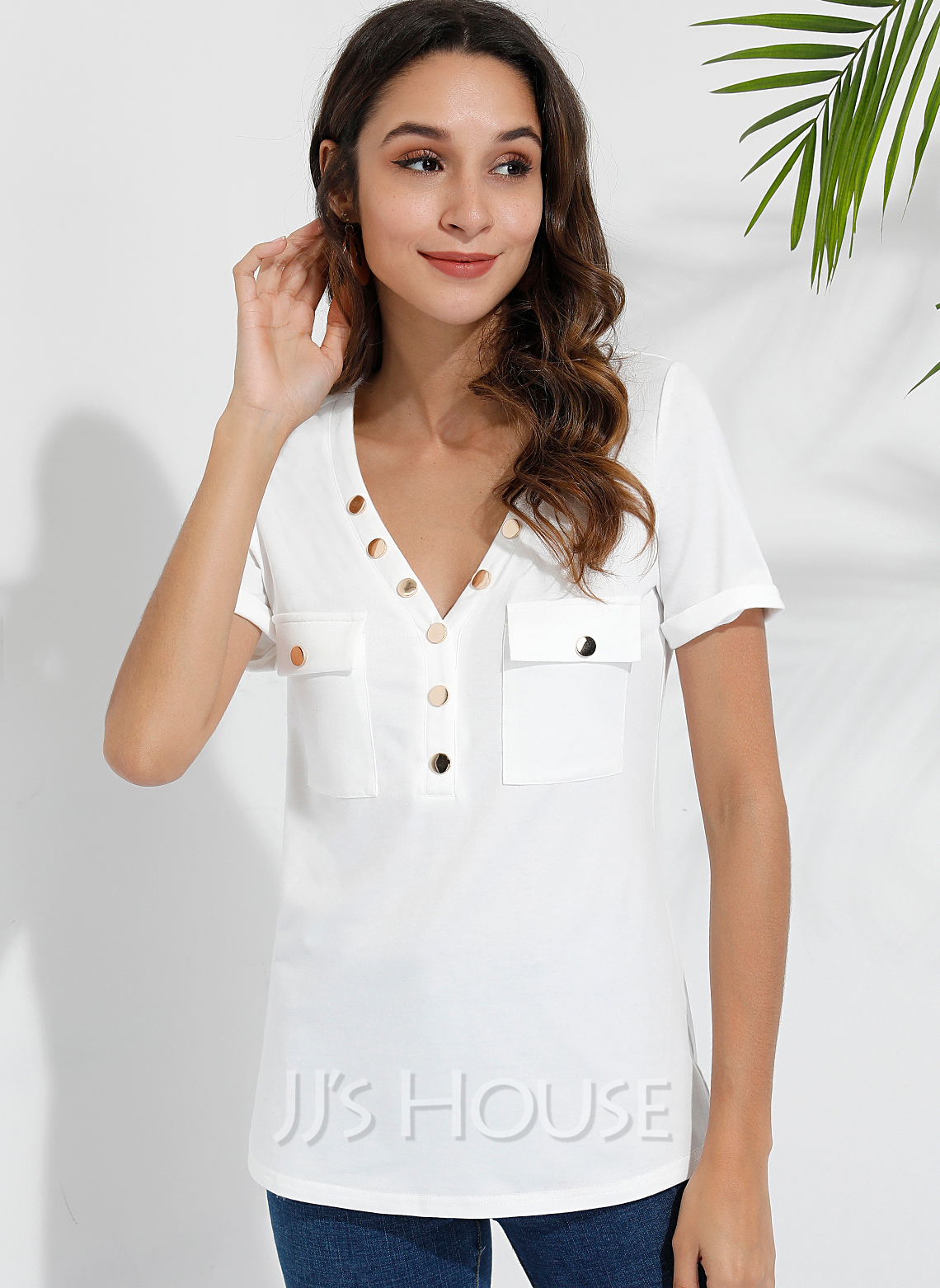 Short Sleeves Polyester V Neck T-shirt Blouses