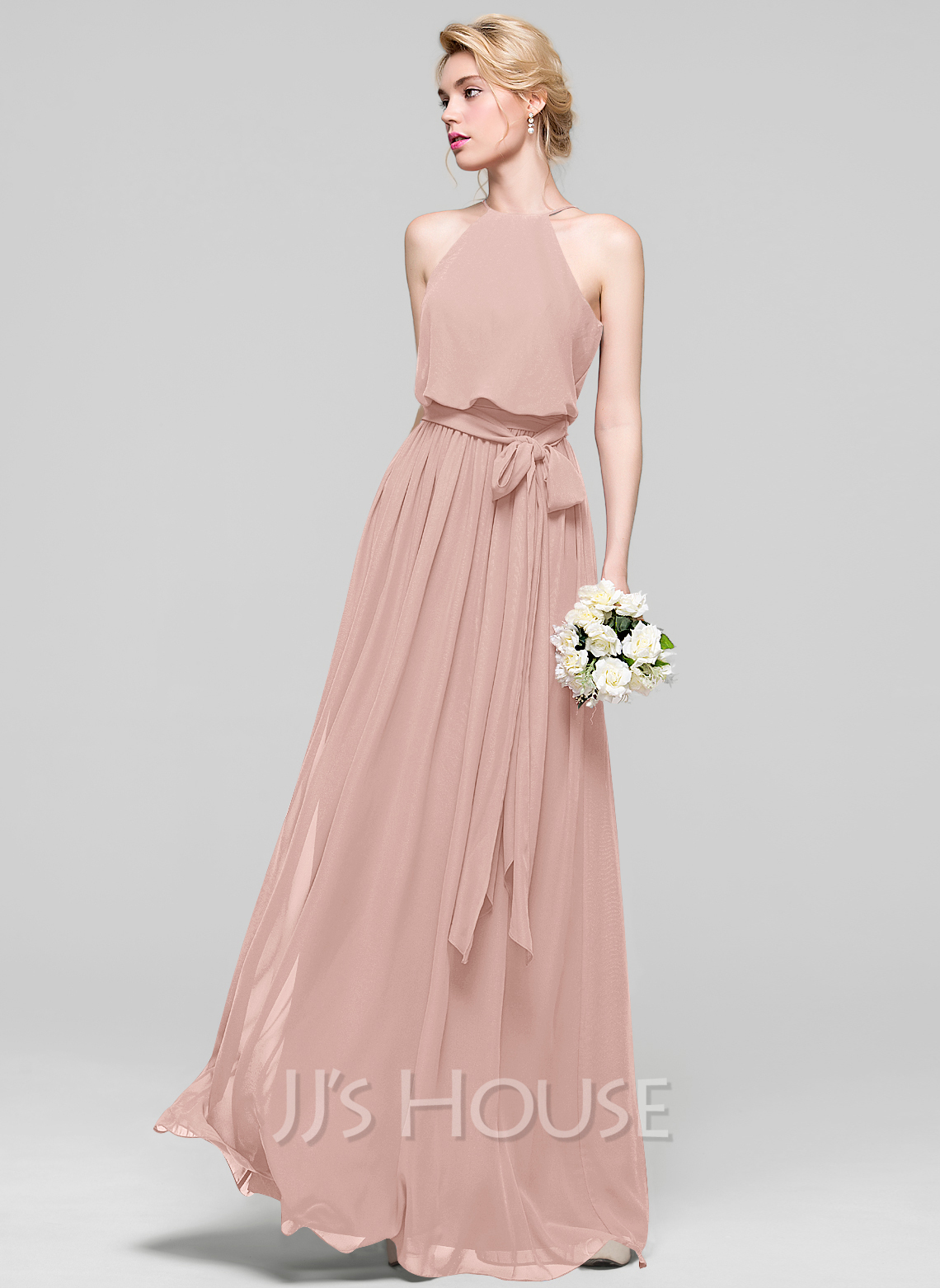A lineprincess scoop neck floor length chiffon bridesmaid dress a lineprincess scoop neck floor length chiffon bridesmaid dress with bow loading zoom ombrellifo Image collections