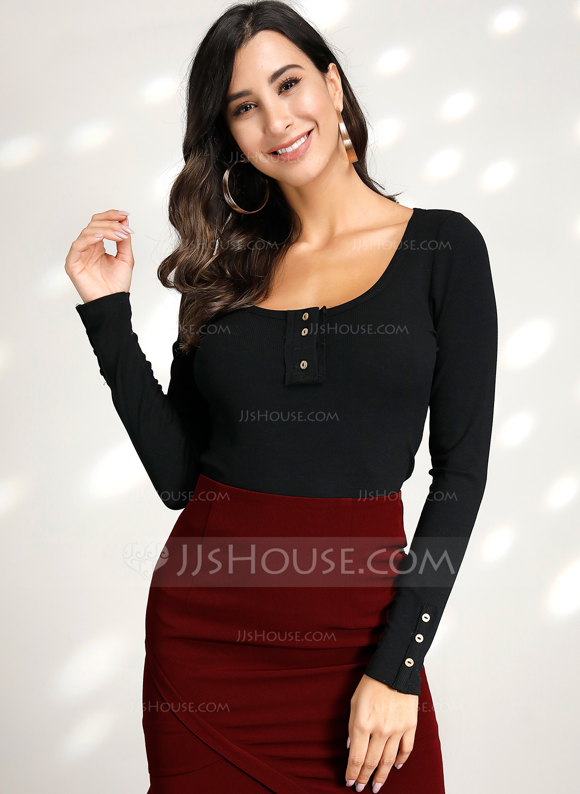 Long Sleeves Cotton Blends Round Neck Knit Blouses