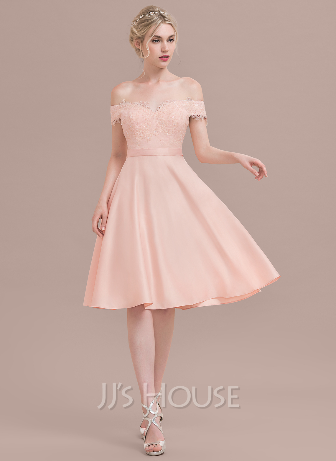 Off-the-Shoulder Knee-Length Satin Lace Bridesmaid Dress With Beading Sequins