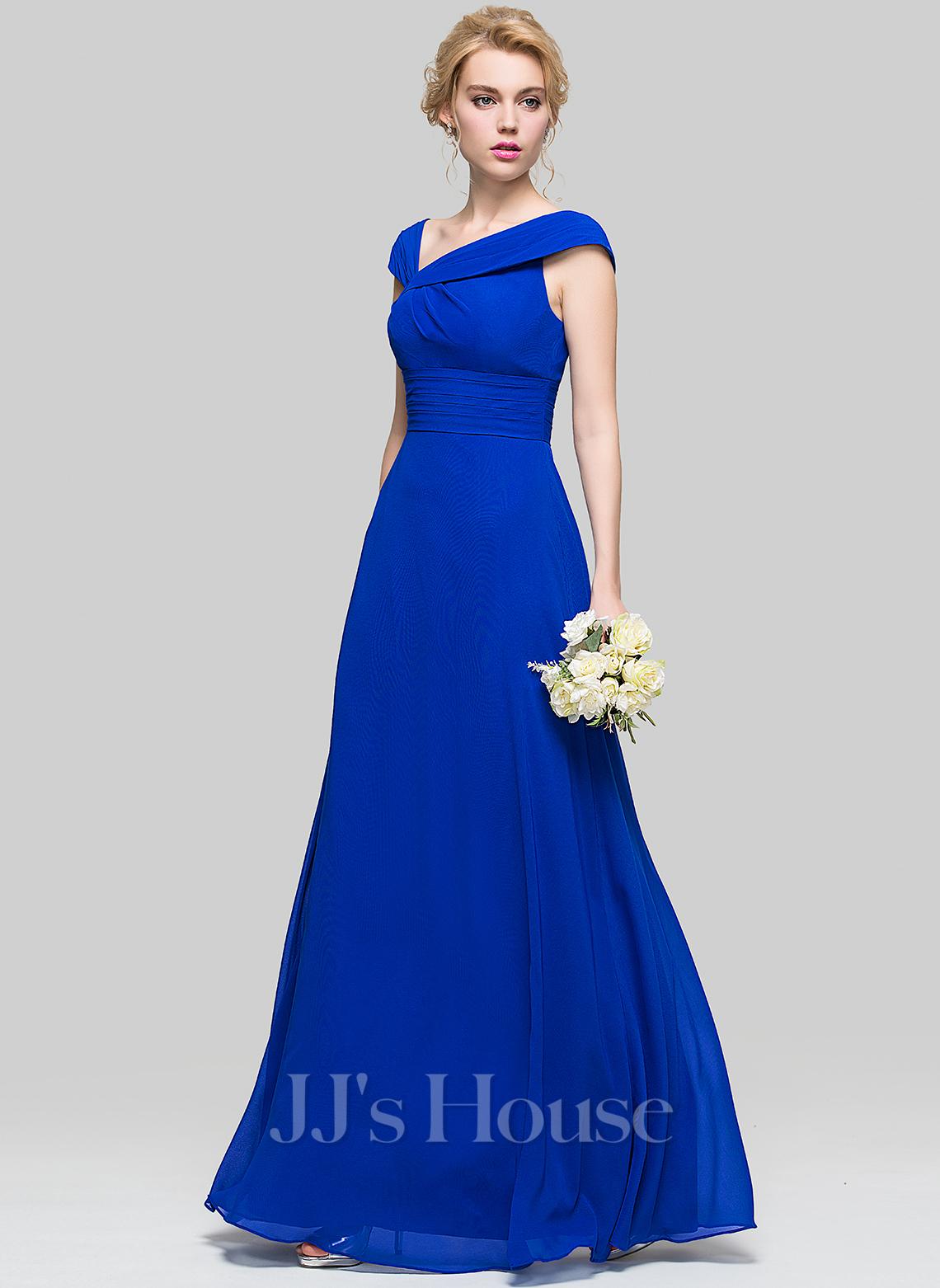 V-neck Floor-Length Chiffon Bridesmaid Dress With Ruffle