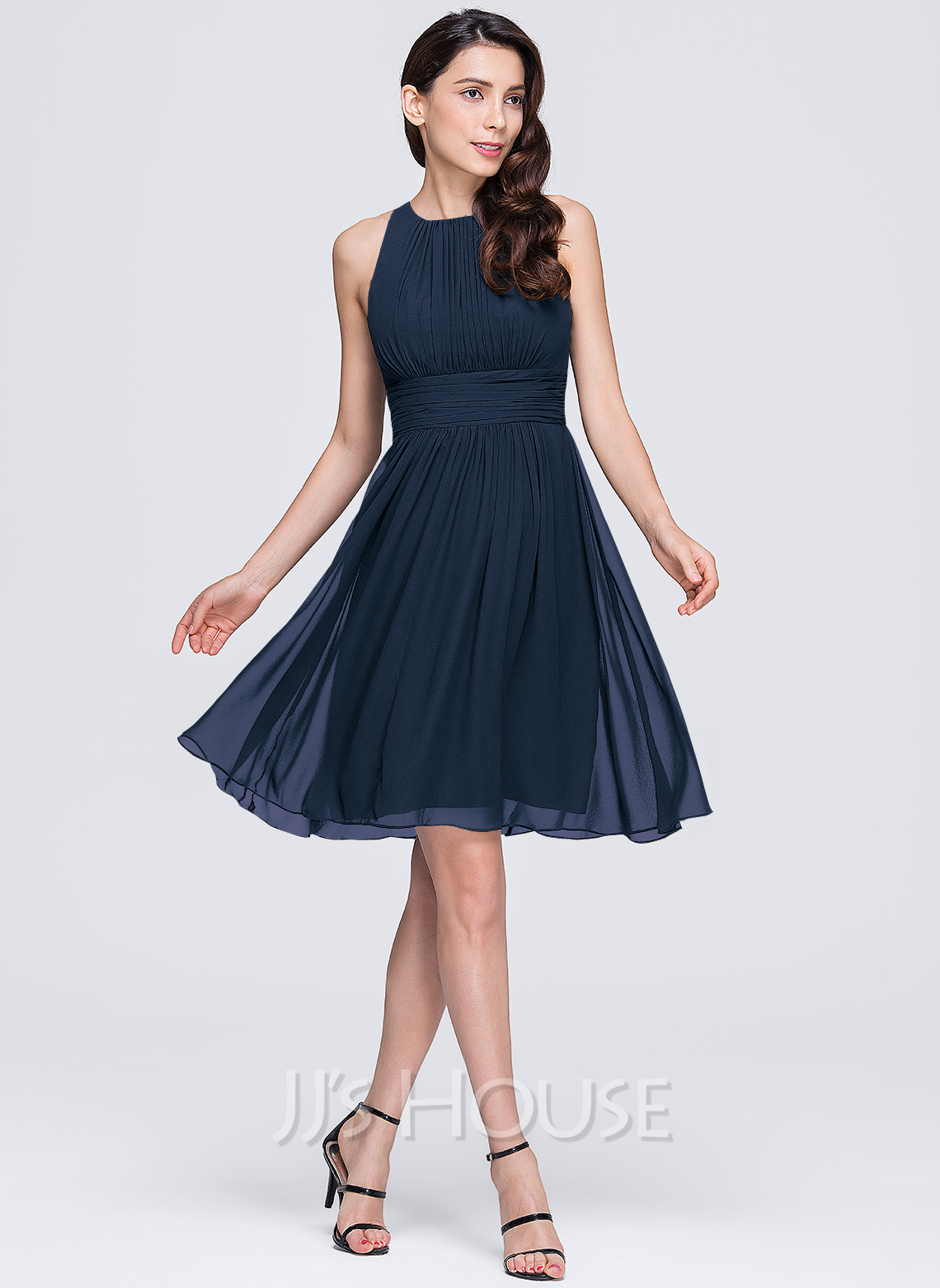 A lineprincess scoop neck knee length chiffon bridesmaid dress a lineprincess scoop neck knee length chiffon bridesmaid dress with ruffle loading zoom ombrellifo Image collections