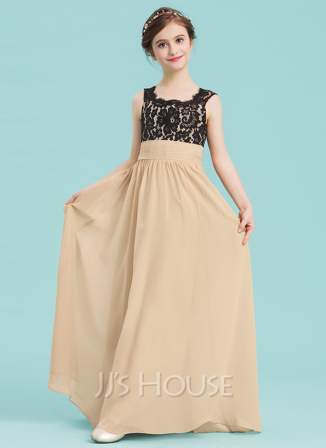 A-Line Scoop Neck Floor-Length Chiffon Junior Bridesmaid Dress