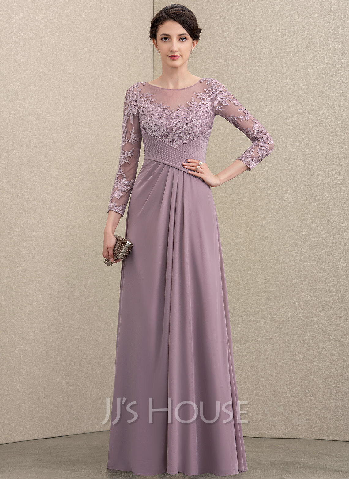 A-Line Scoop Neck Floor-Length Chiffon Lace Mother of the Bride Dress With Ruffle